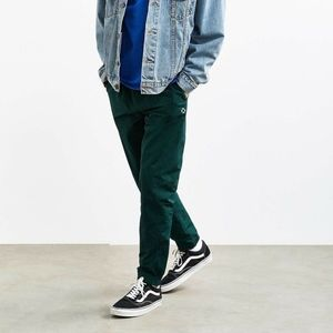 Crinkled Nylon Wind Pant Green Slim Size L Large